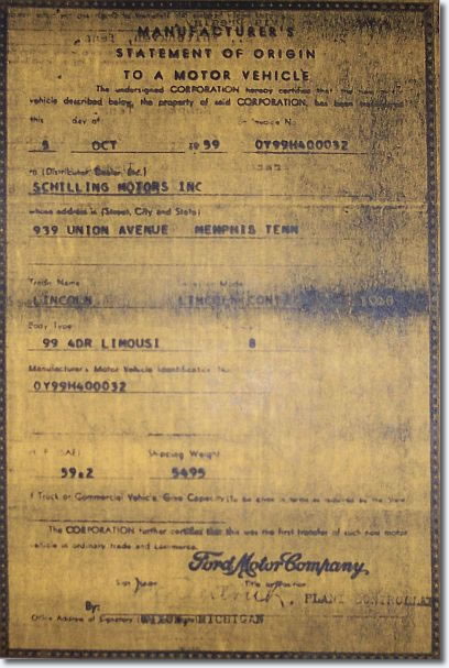 Manufacturer's certificate of origin from Ford Motor Company to Schilling Motors.