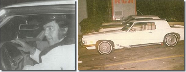 Above, first photo, Elvis at Stax Studio July 22, 1973 - second photo, Elvis' 1972 Stutz Blackhawk at Stax Studio December, 16, 1973